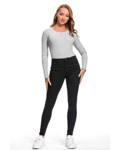 JEANS SUPER SKINNY COLOR MUJER NEGRO