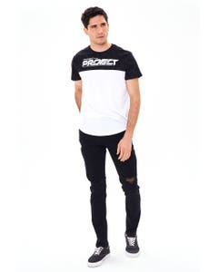JEANS SKINNY ROTURAS COLOR NEGRO