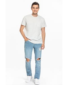 JEANS SKINNY FULL DESTROYED HOMBRE AZUL CLARO